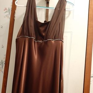 A F.I.E.S.T. brown satin gown